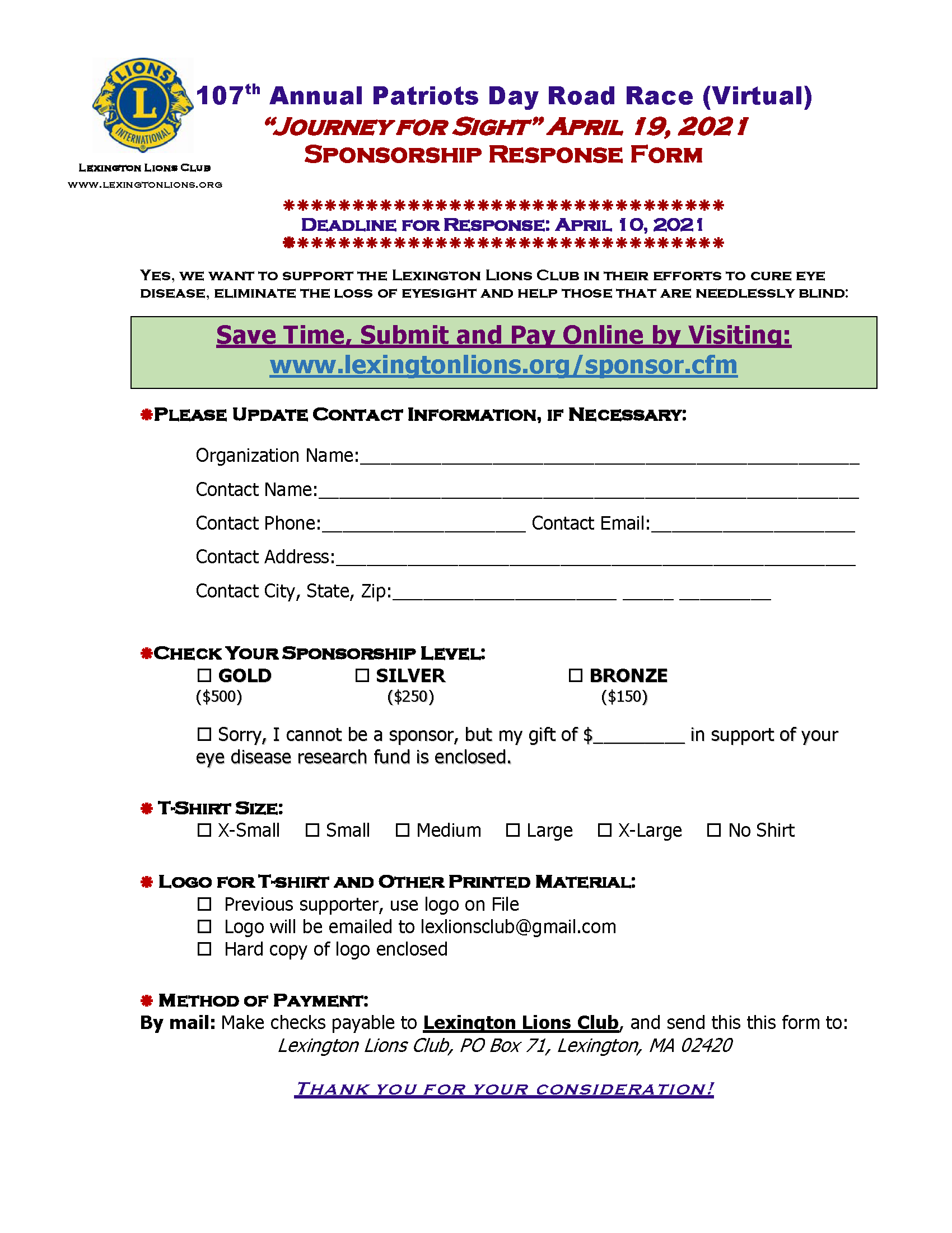 Road Race Sponsor Opportunities 2021